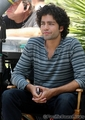 A CLEAN SHAVEN ADRIAN GRENIER ON THE SET OF ENTOURAGE IN HOLLYWOOD APRIL 29, 2008