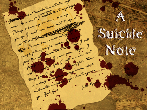 Photoshop wallpaper probably containing a sign titled A Suicide Note