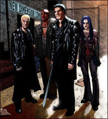 Buffyverse Comics achtergrond probably containing a straat and a business suit called Angel After the Fall Art