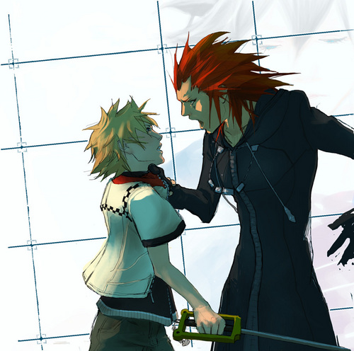 Kingdom Hearts fond d'écran titled Axel angry at Roxas
