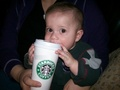 Baby Max drinking Starbucks