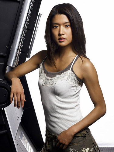 Grace Park wallpaper possibly with bare legs, hosiery, and a sign called Battlestar Galactica - Boomer