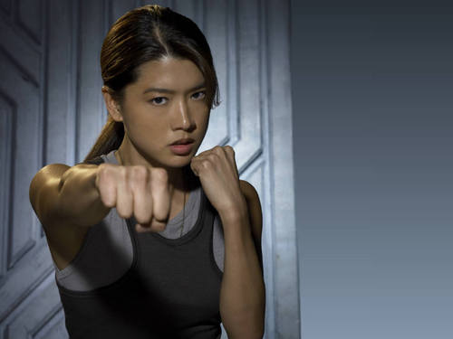 Grace Park wallpaper possibly containing tights, a leotard, and a playsuit titled Battlestar Galactica - Boomer