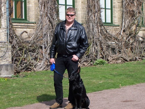 Black GSD at istana, castle
