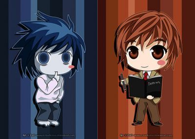 death note light and l chibi-#main
