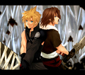 Cloud and Leon Back to Back - kingdom-hearts fan art