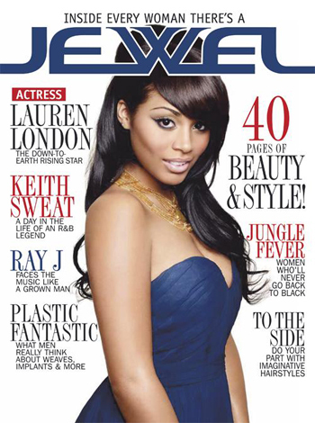 Lauren Londres wallpaper probably containing a jantar dress, a strapless, and a portrait called Cover of JEWEL magazine