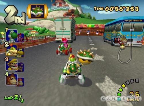 Mario Kart 바탕화면 probably with a carriageway, a business district, and a 거리 called Double Dash Screens