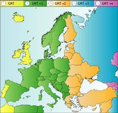 Time zones europe