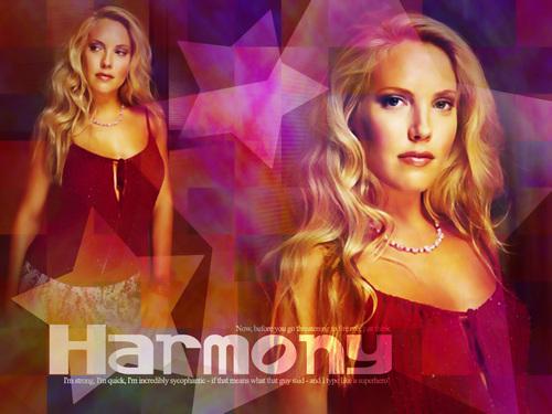 The Buffyverse fond d'écran with a portrait titled Harmony