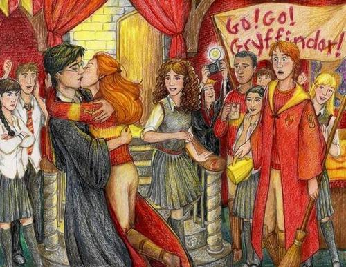 Harry Ginny first kiss