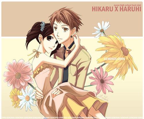 ouran high school host club wallpaper titled Hikaru x Haruhi