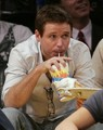 Kevin Connolly enjoys a beverage during the LA Lakers game        May 4, 2008 - kevin-connolly photo