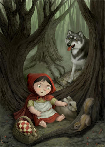 Fairy Tales & Fables karatasi la kupamba ukuta entitled Little Red Riding kofia