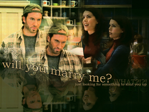 tv couples wallpaper with a dishwasher, a diner, and a sign called Luke & Lorelai (Gilmore Girls)