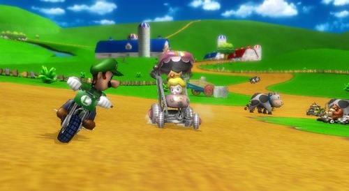 Mario Kart 바탕화면 with a 창구, 개찰 구 and a fielder titled Mario Kart Wii Screens