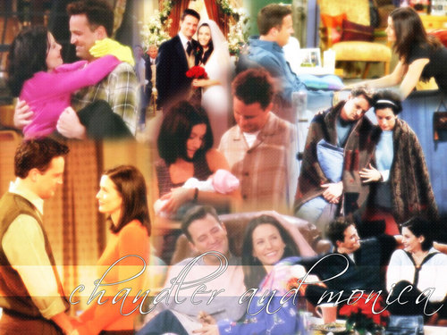Monica and Chandler wallpaper titled Monica & Chandler (Friends)