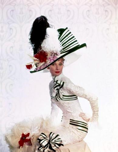Audrey Hepburn karatasi la kupamba ukuta possibly containing a boater, a fedora, and a sombrero entitled My Fair Lady