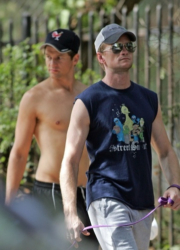 NPH and Boyf walking the dogs