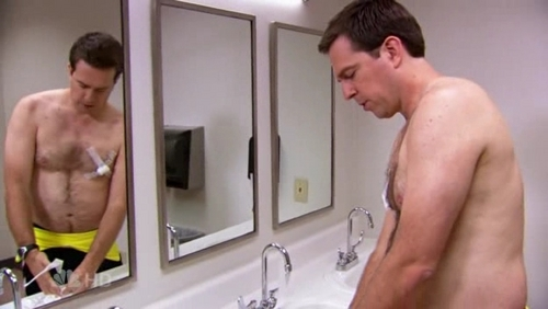The Office wallpaper with a hunk, a hot tub, and a six pack called Nipple Chafing
