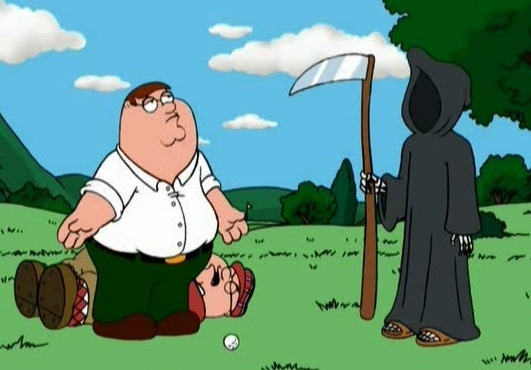 Peter and Death golfing