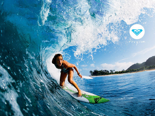 Roxy wallpaper possibly with a bikini and a bather titled Roxy surfing