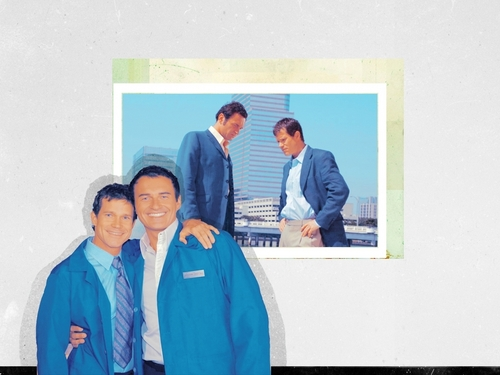Nip/Tuck wallpaper possibly containing a workwear, a bathrobe, and an outerwear called Sean & Christian