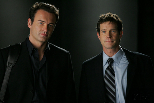 Nip/Tuck wallpaper containing a business suit, a suit, and a three piece suit entitled Sean & Christian