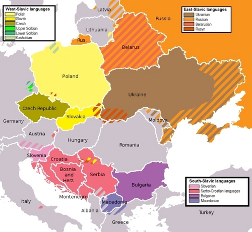 Slavic languages in europa