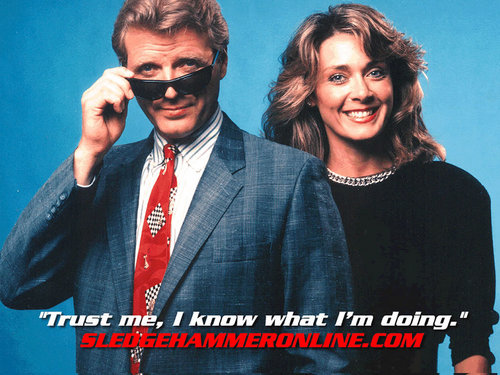 Televisione wallpaper with sunglasses titled Sledge Hammer! wallpaper
