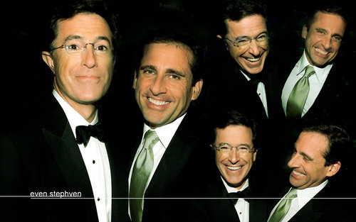 Stephen Colbert wolpeyper with a business suit and a suit titled Stephen Colbet & Steve Carell