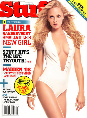 Laura Vandervoort wallpaper containing a maillot titled Stuff Magazine Photoshoot