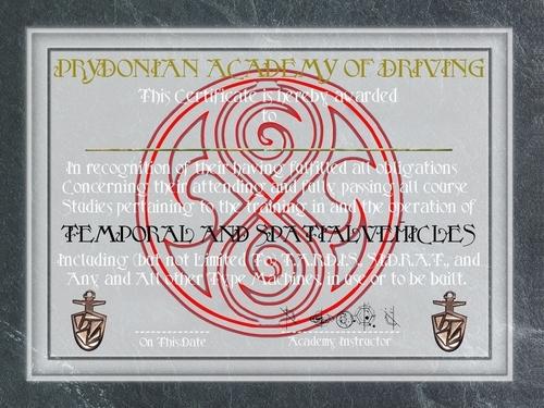 Tardis Driving Certificate