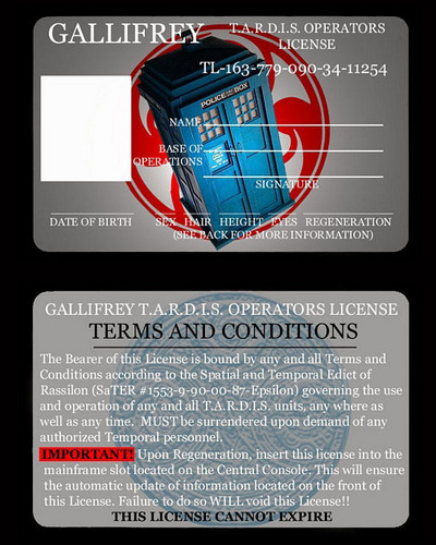 Doctor Who wallpaper called Tardis Operator's License