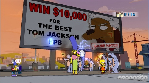 The Simpsons Game achtergrond possibly containing a multiplex, a street, and a diner titled The Simpsons Game Screens
