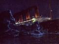 Titanic hits iceberg