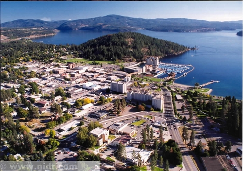 Idaho wallpaper possibly with a business district called Tubbs Hill in Coeur d'Alene