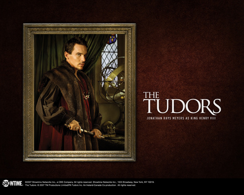 The Tudors wallpaper probably containing a stained glass window and a sign entitled Tudors