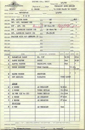 Twilight Zone Call Sheet