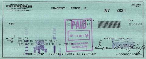 Vincent Price cheque