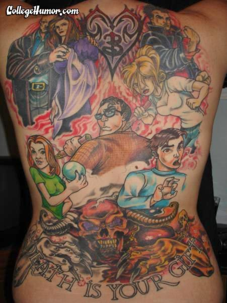 Hideous Buffy the Vampire slayer tattoo. I don't know what to think of it.