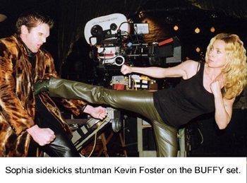 filming a stunt fight