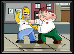 The Simpsons Vs Family Guy wolpeyper titled homer vs peter