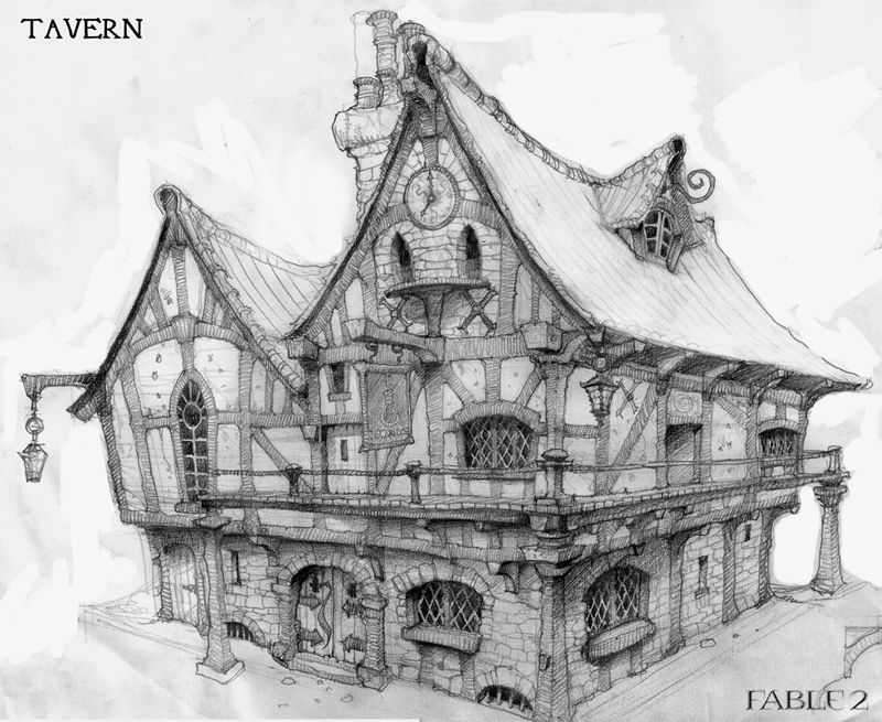 "Fable 2 concept art ""Inn"""