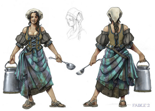 "Fable 2 concept art ""The sữa maid"""