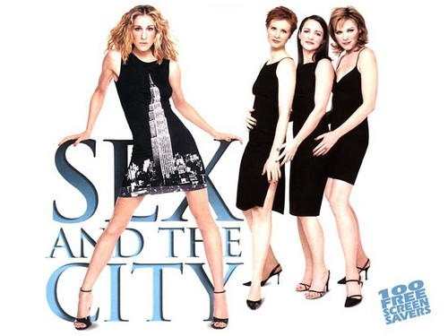 Sex and the City achtergrond possibly with a cocktail dress and a portrait entitled Satc