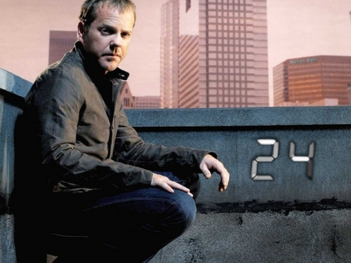 24 wallpaper with a business suit and a street titled 24 Jack Bauer