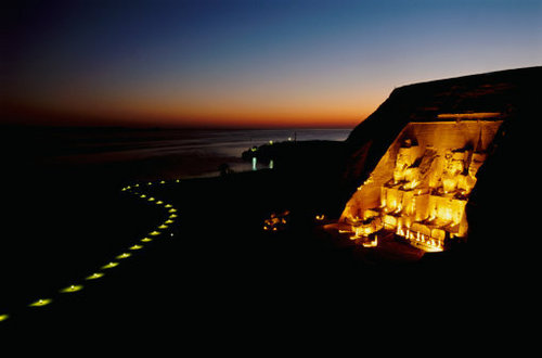 Abu Simbel door Night