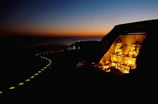 Abu Simbel door Night