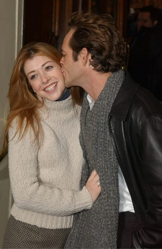 Alyson Hannigan kertas dinding probably with a pullover titled Aly & Dude